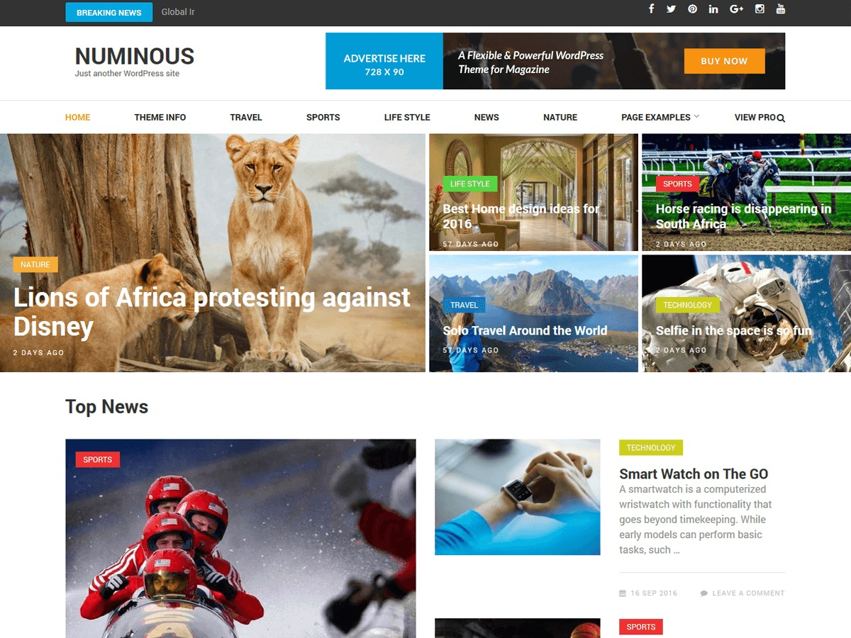Numinous WordPress news theme