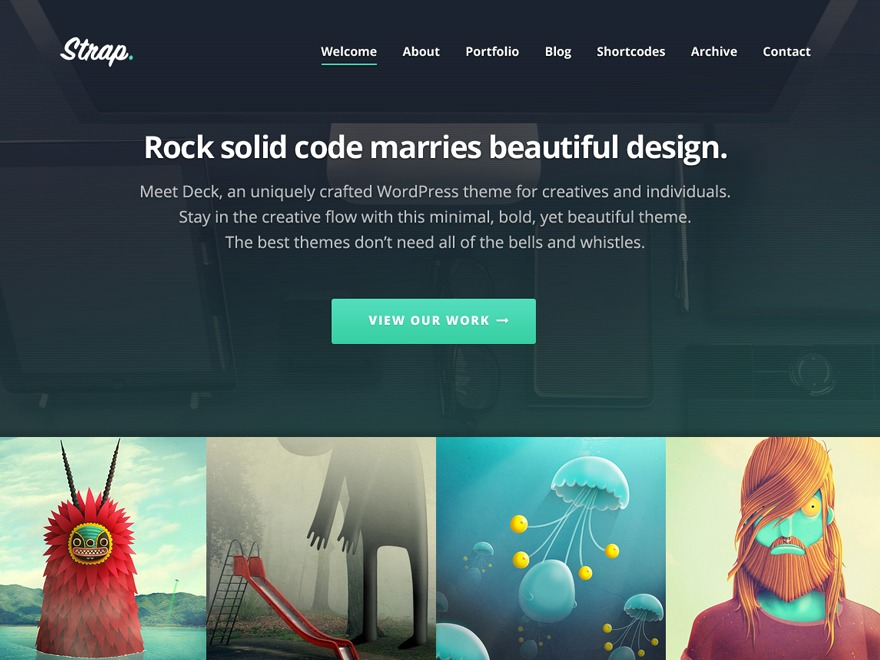 Strap WordPress page template