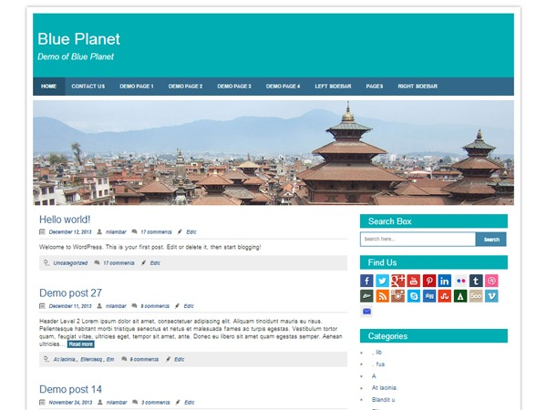 WP theme Blue Planet Child
