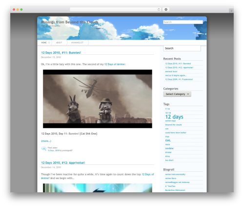 Azul theme WordPress - anime.prototype27.com