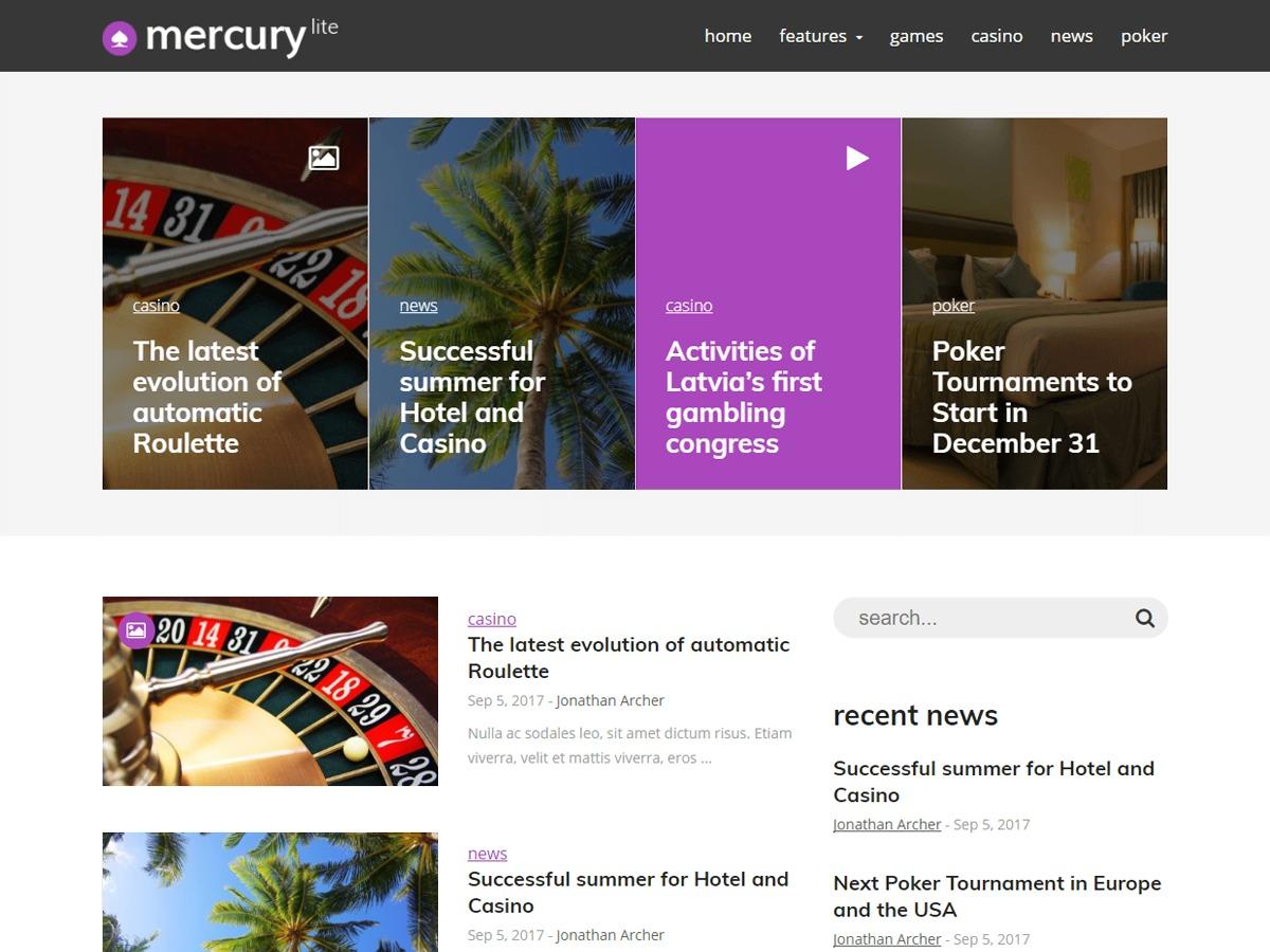 MercuryLite newspaper WordPress theme