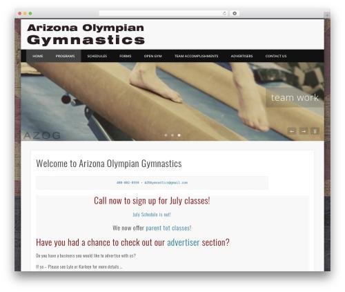 Pinboard gym WordPress theme - azolympiangymnastics.com