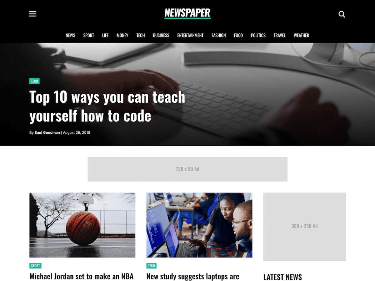 Newspaper Pro WordPress news template