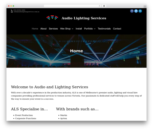 Corona WP theme - audiolightingservices.com.au