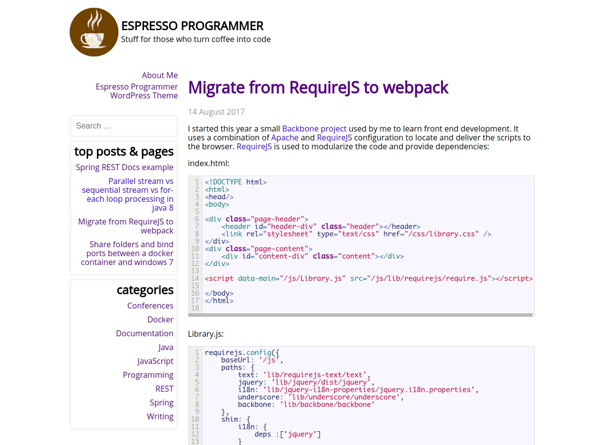 Theme WordPress Espresso Programmer