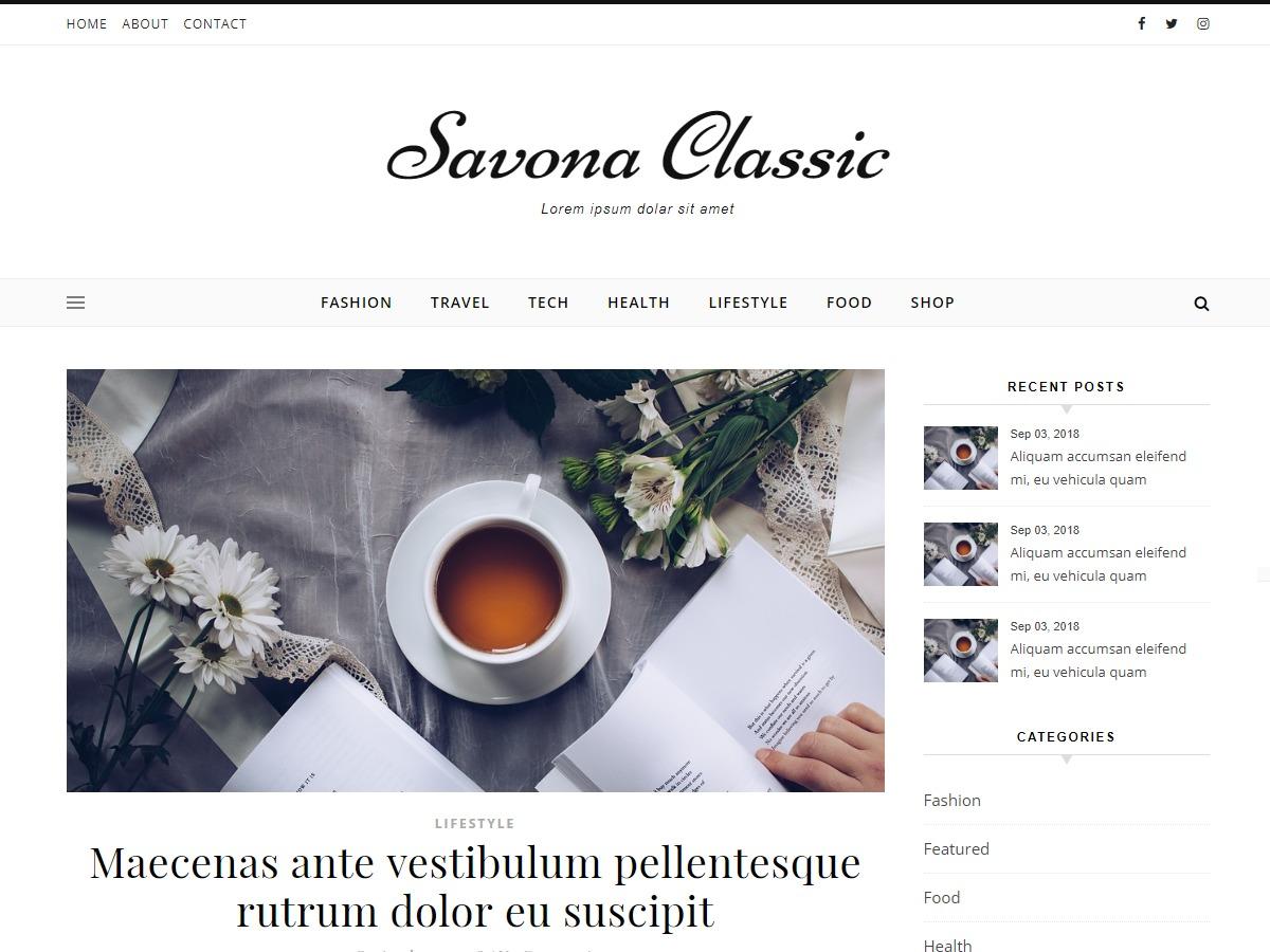 Savona Classic fitness WordPress theme