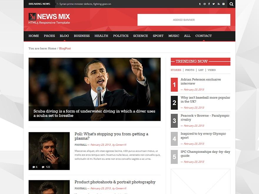 News Mix Light WordPress news template