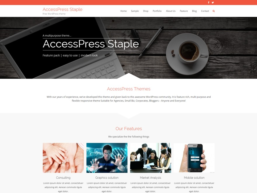 AccessPress Staple WordPress blog theme