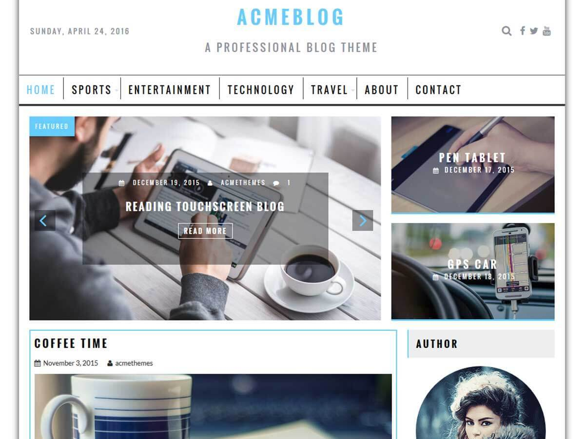 AcmeBlog newspaper WordPress theme