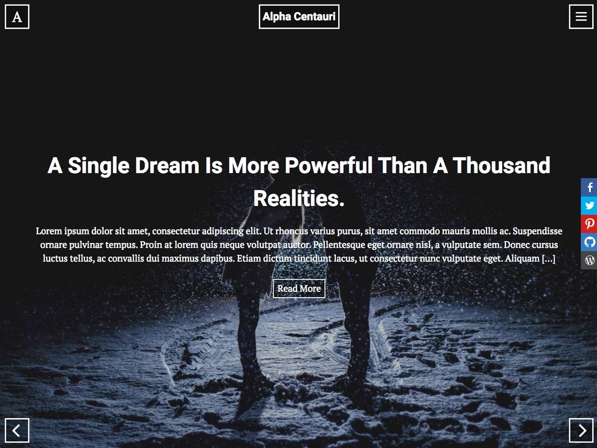 Alpha Centauri WordPress template for photographers