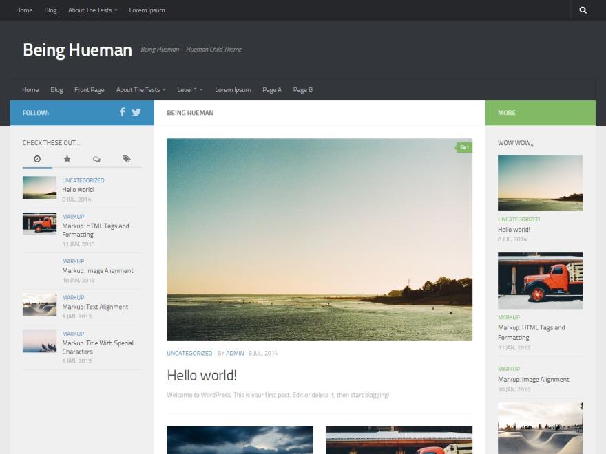 Being Hueman WordPress blog theme