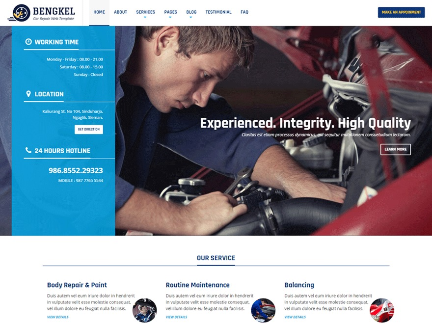 Bengkel business WordPress theme