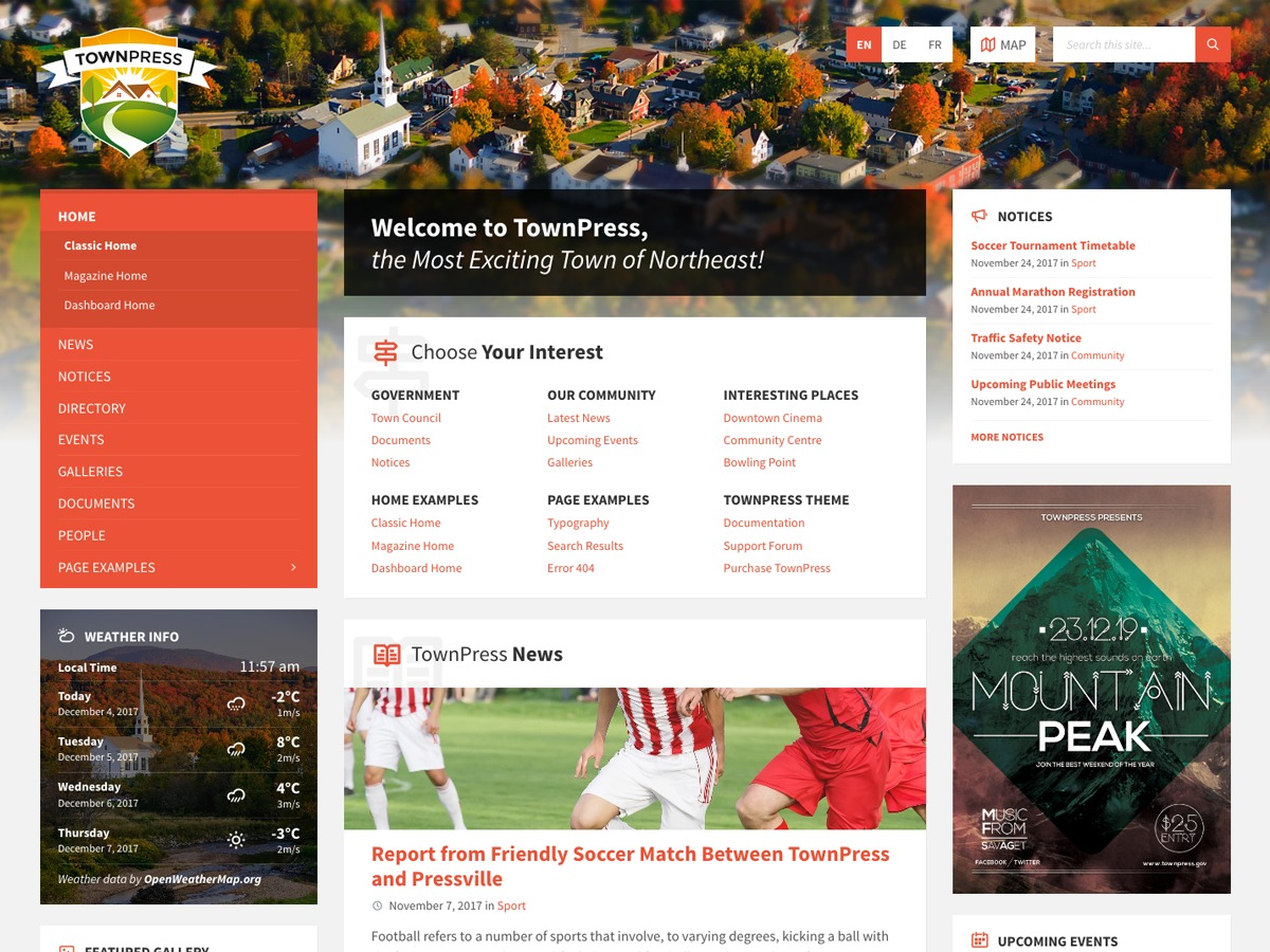 Best WordPress template TownPress