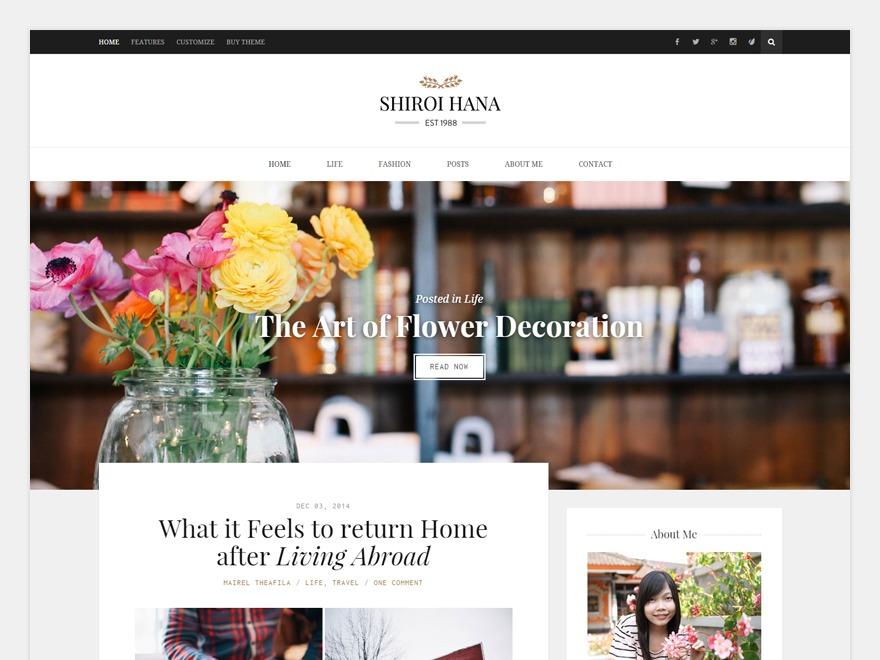 Best WordPress theme Shiroi Hana Child Theme
