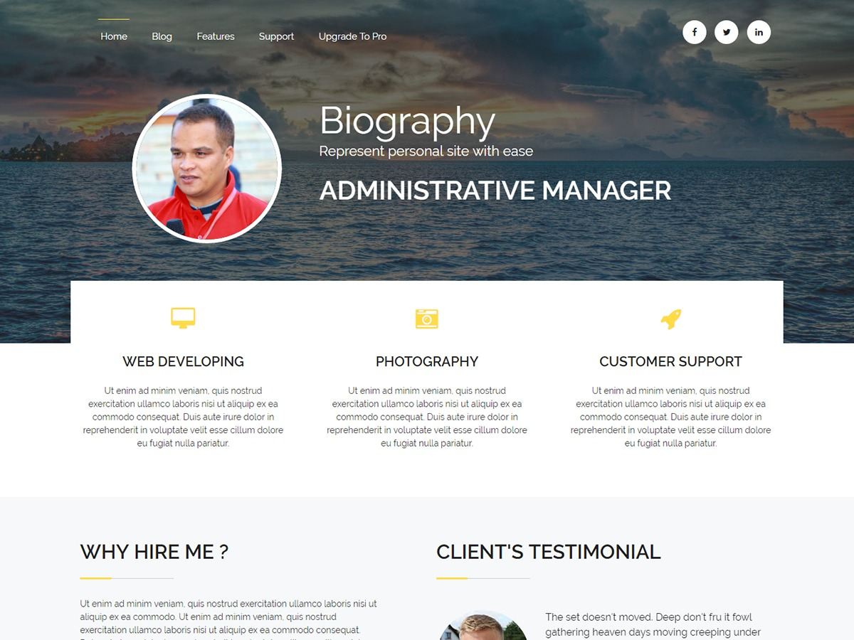 Biography WordPress template for business