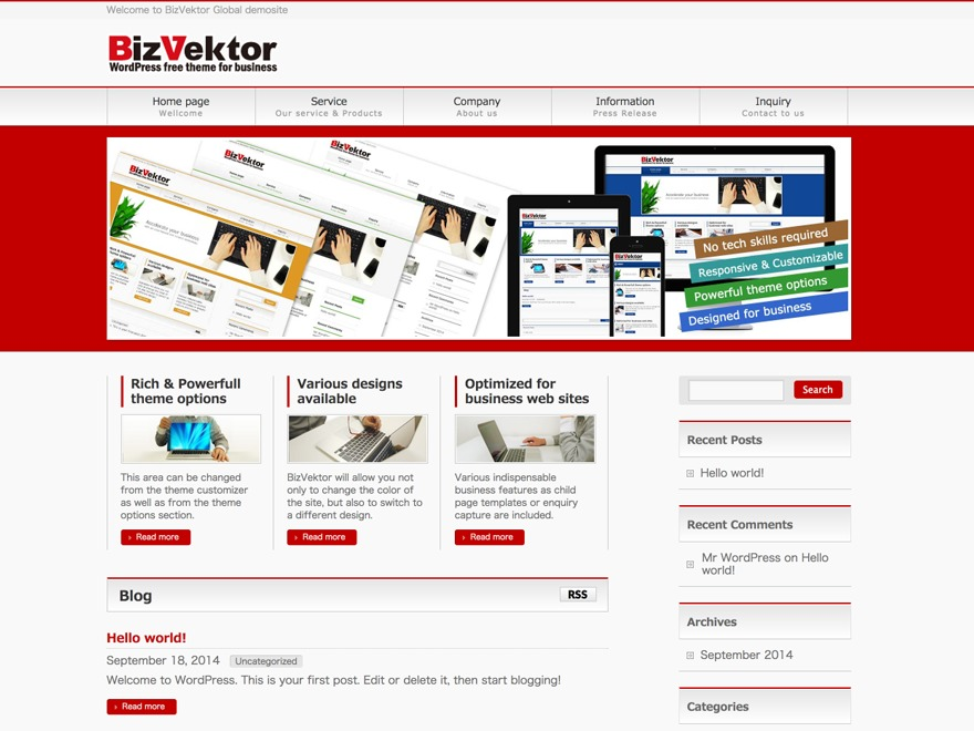 BizVektor Global Edition theme free download