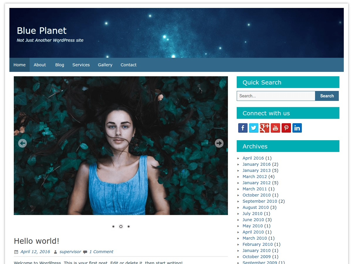 Blue Planet best free WordPress theme
