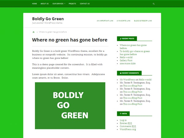 Boldly Go Green WordPress template for business