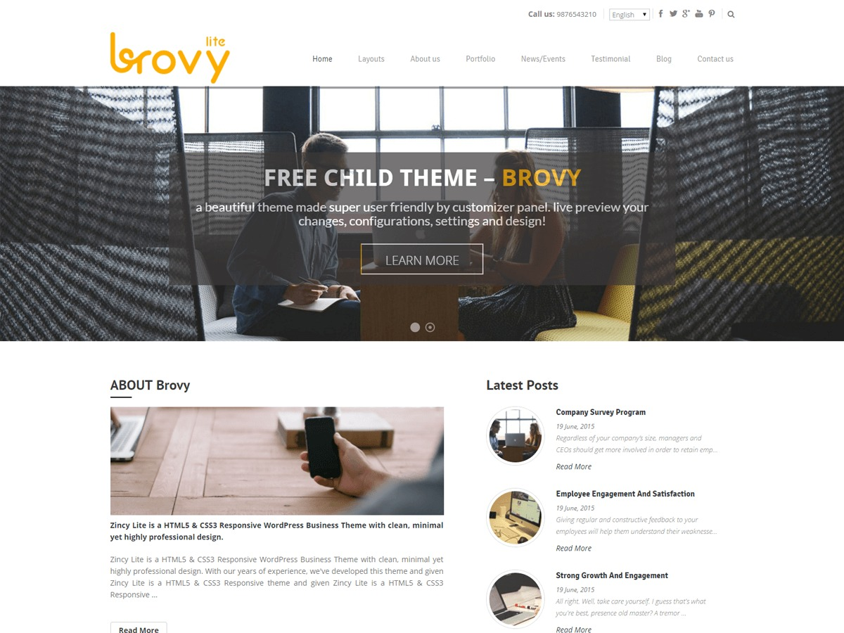 Brovy WordPress template free download