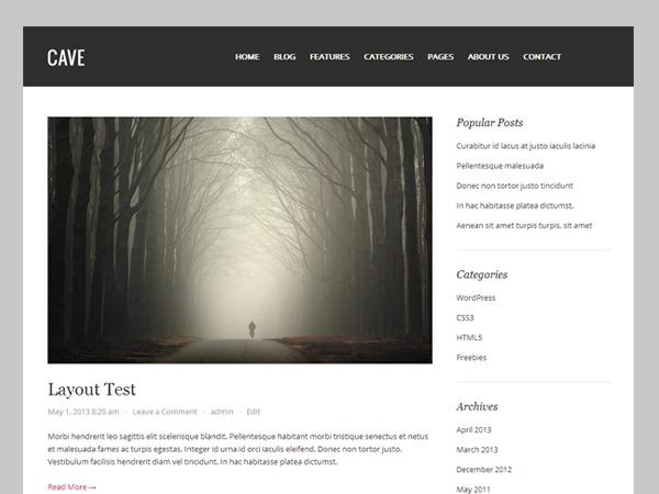 Cave WordPress gallery theme