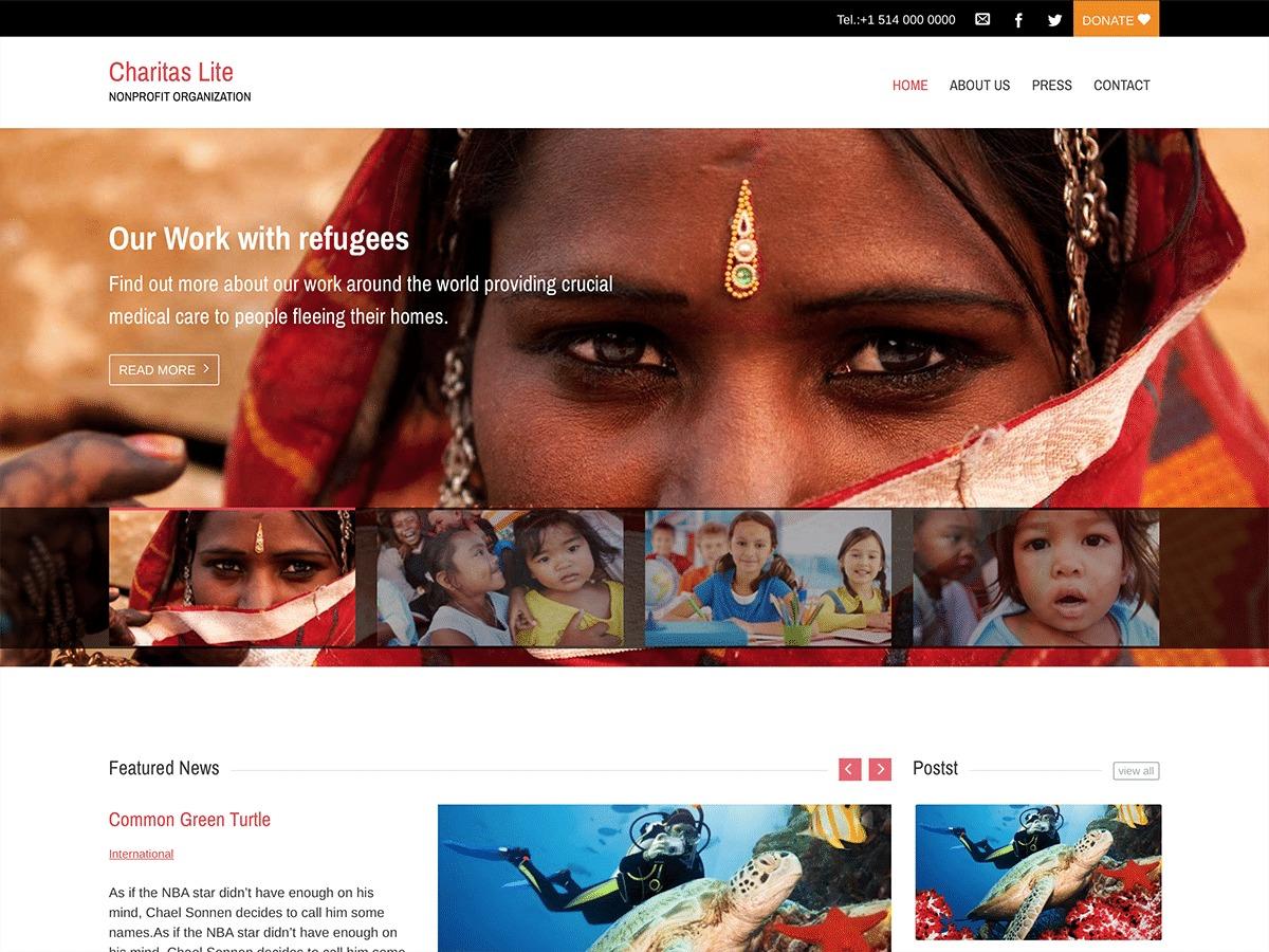 Charitas Lite best free WordPress theme