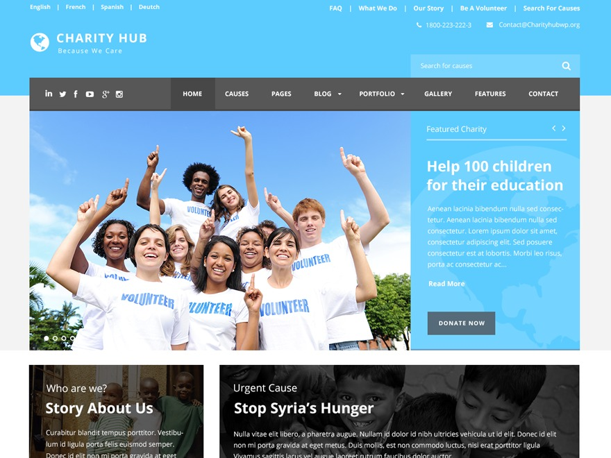 Charity Hub WordPress page template