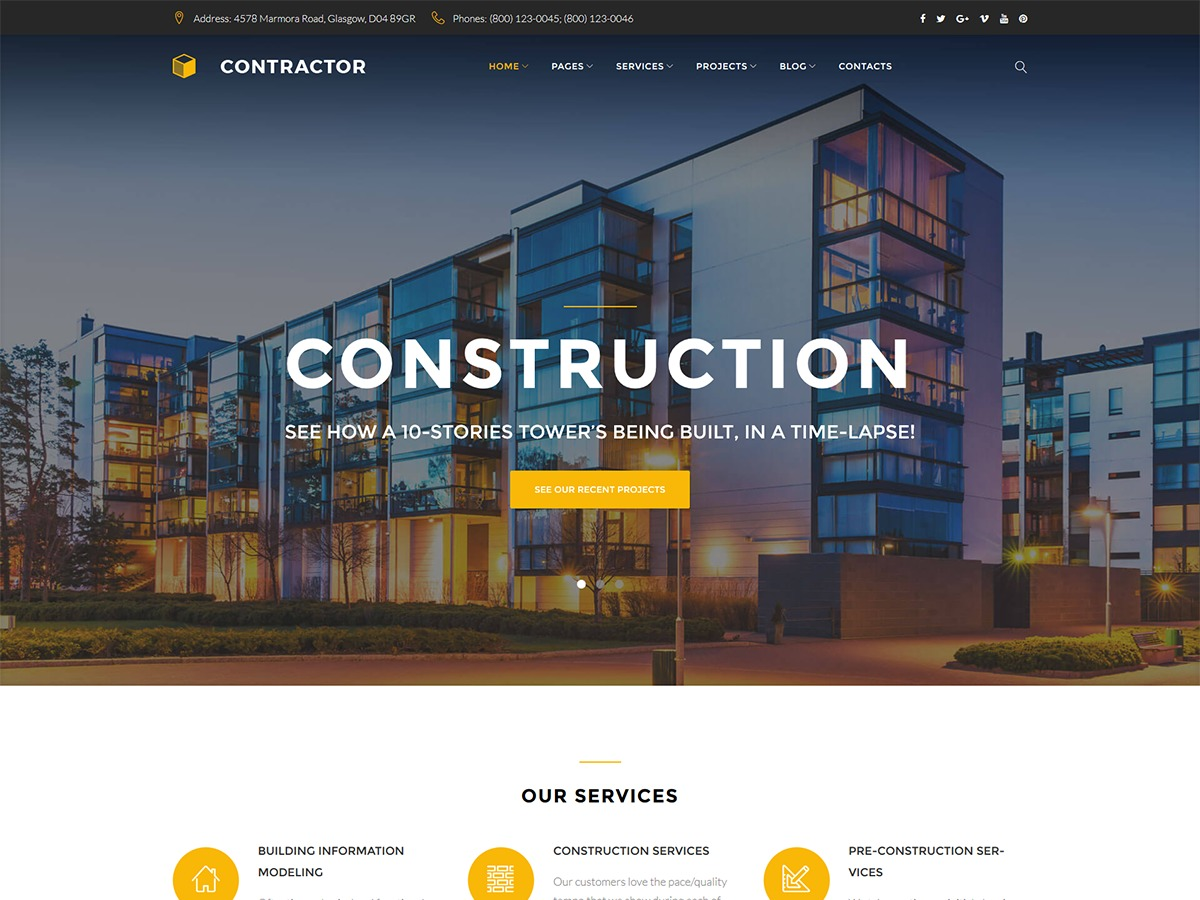 Contractor company WordPress theme