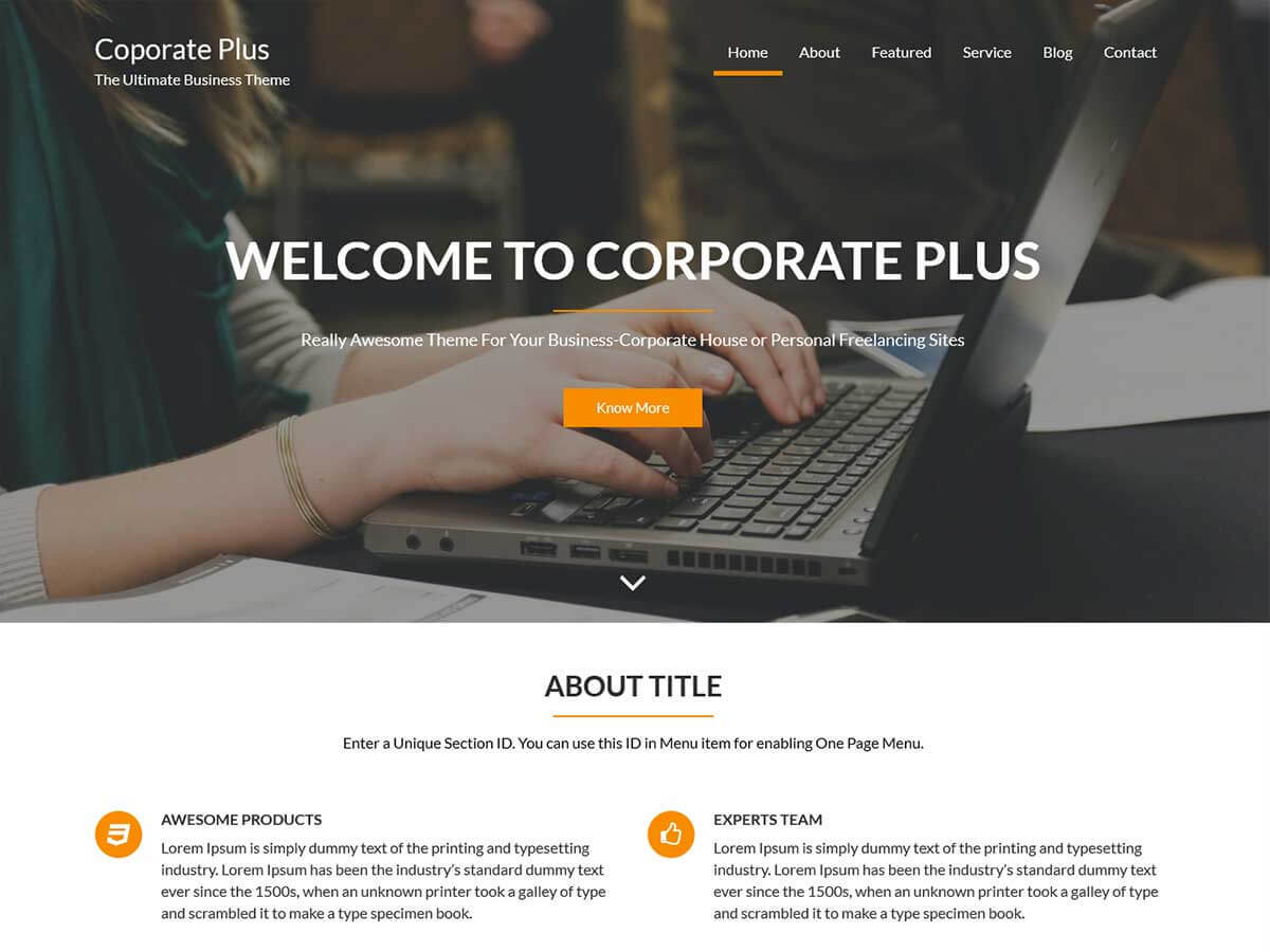 Corporate Plus WordPress theme free download