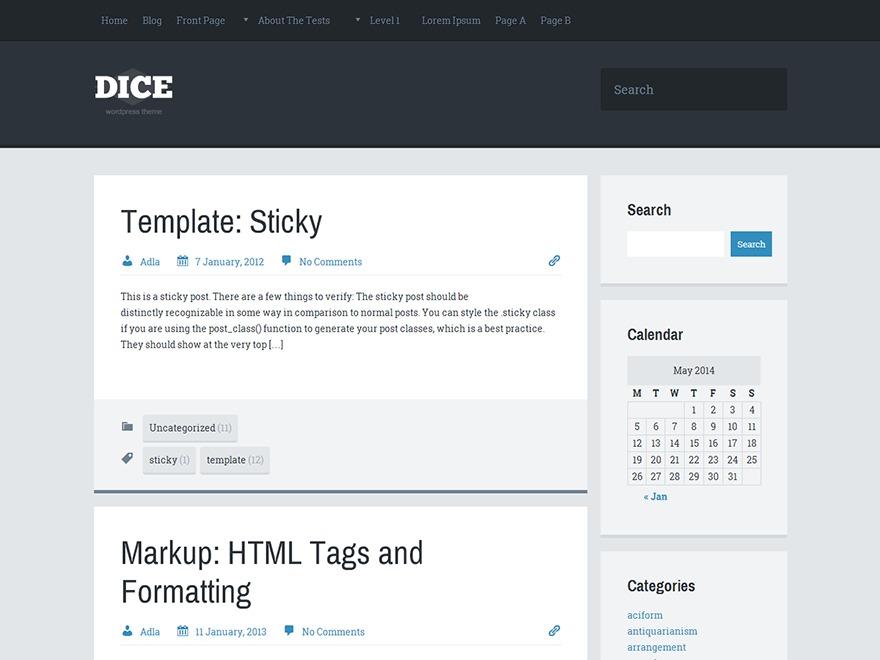 Dice WordPress blog theme
