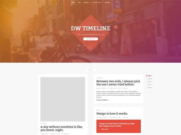 DW Timeline personal blog WordPress theme