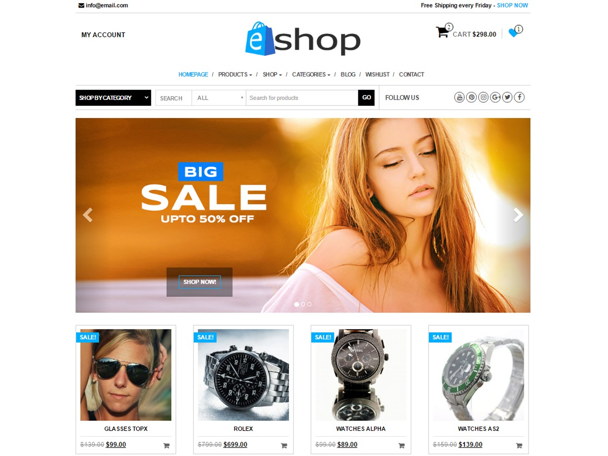 E-Shop template WordPress free