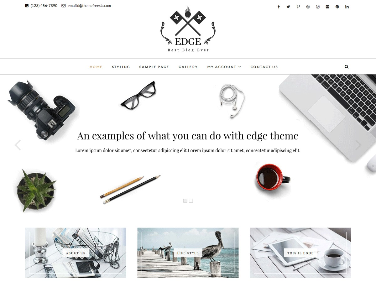 Edge free WordPress theme