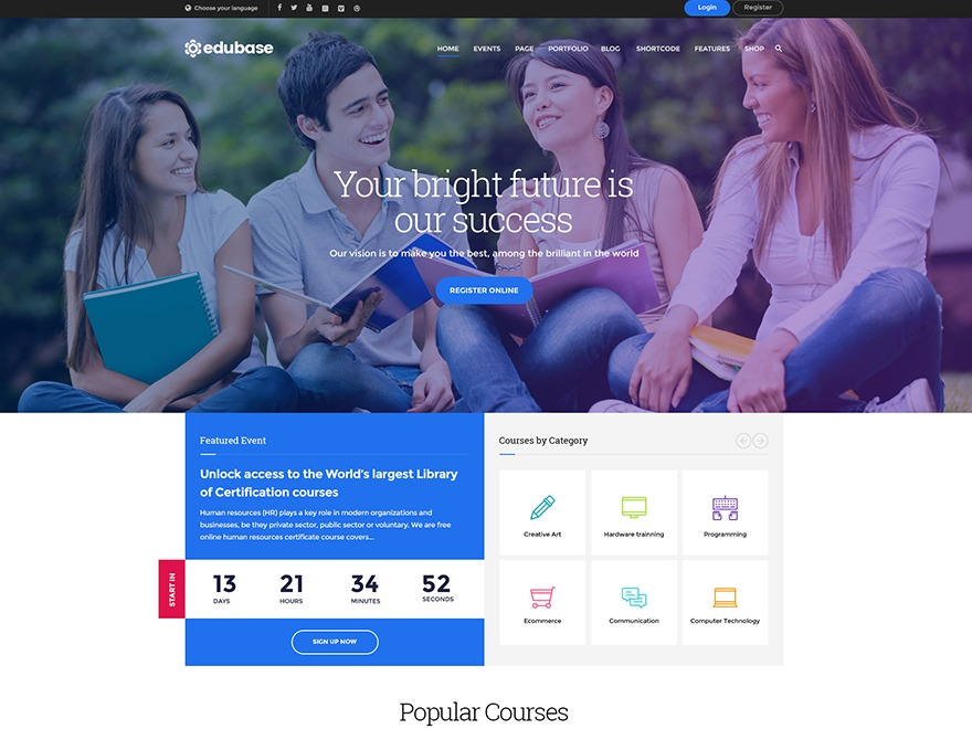 Edubase WordPress shop theme