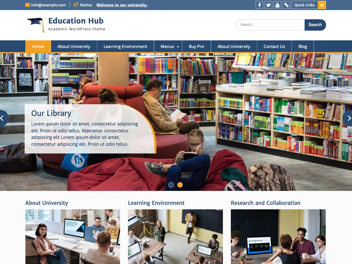 Education Hub free WP theme