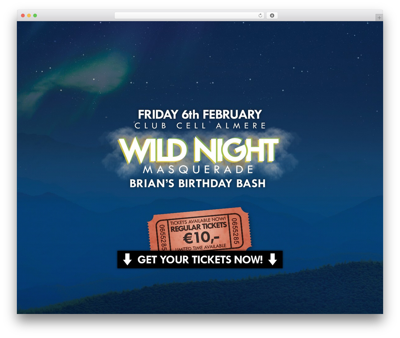 Encore WordPress theme - wildnightevents.com