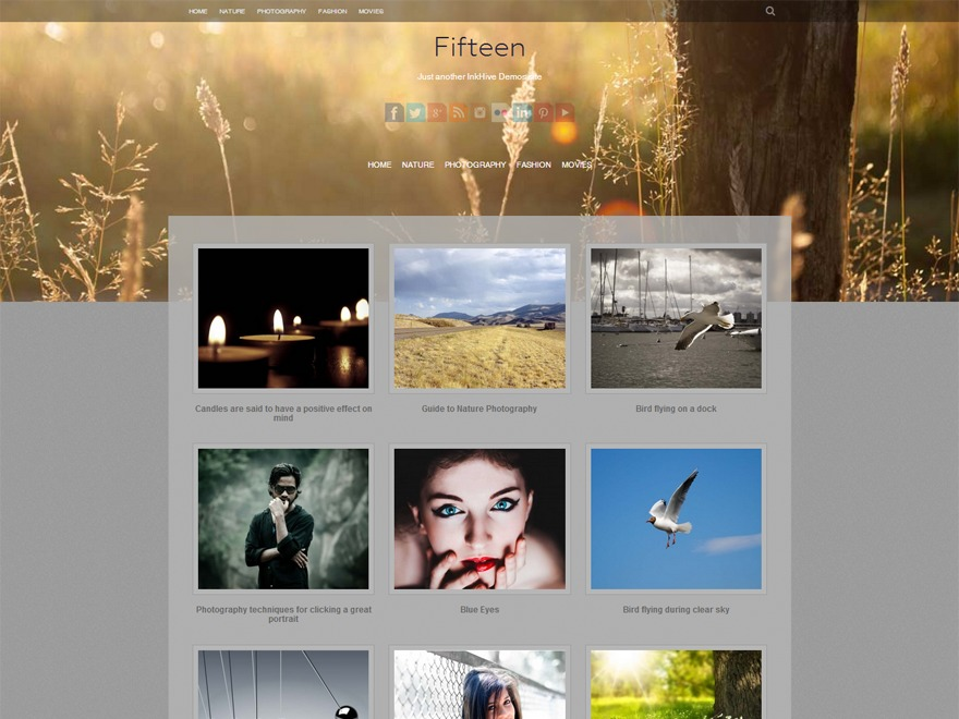 Fifteen personal blog WordPress theme
