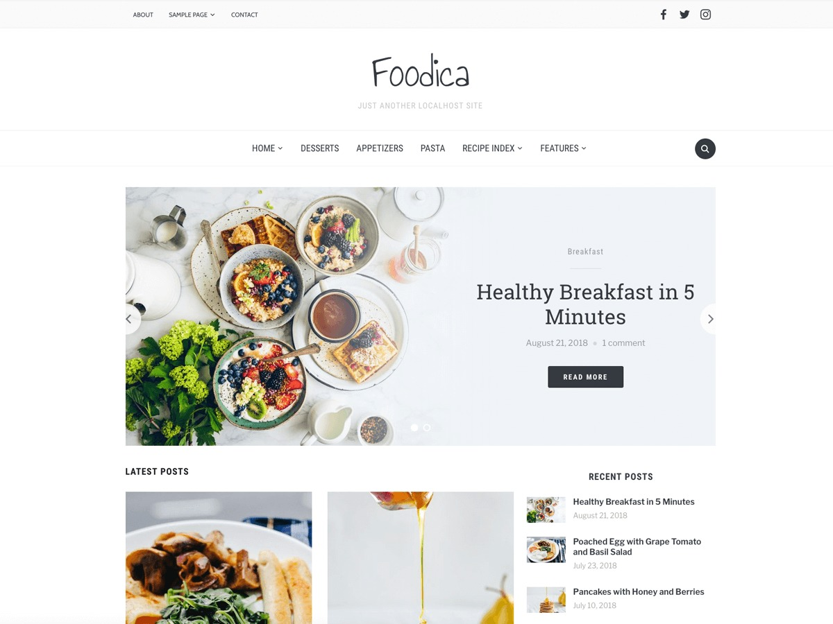 Foodica WordPress news template