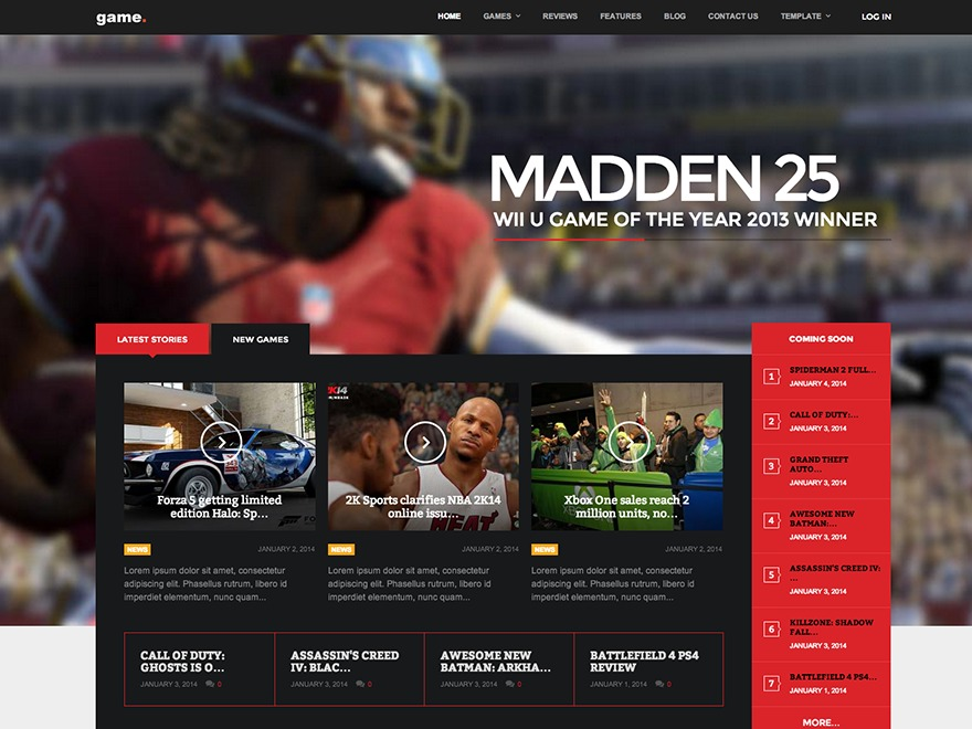 Game WordPress news template
