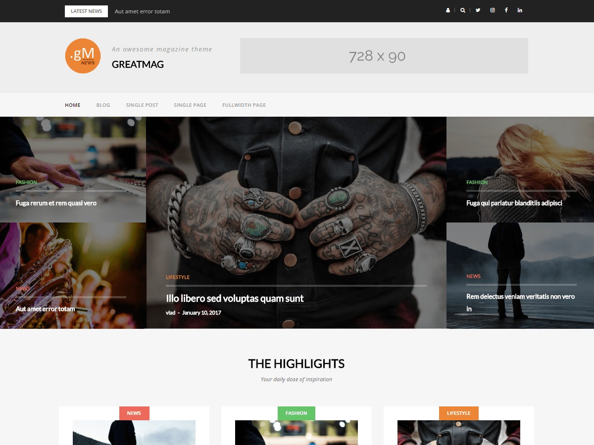 GreatMag WordPress magazine theme