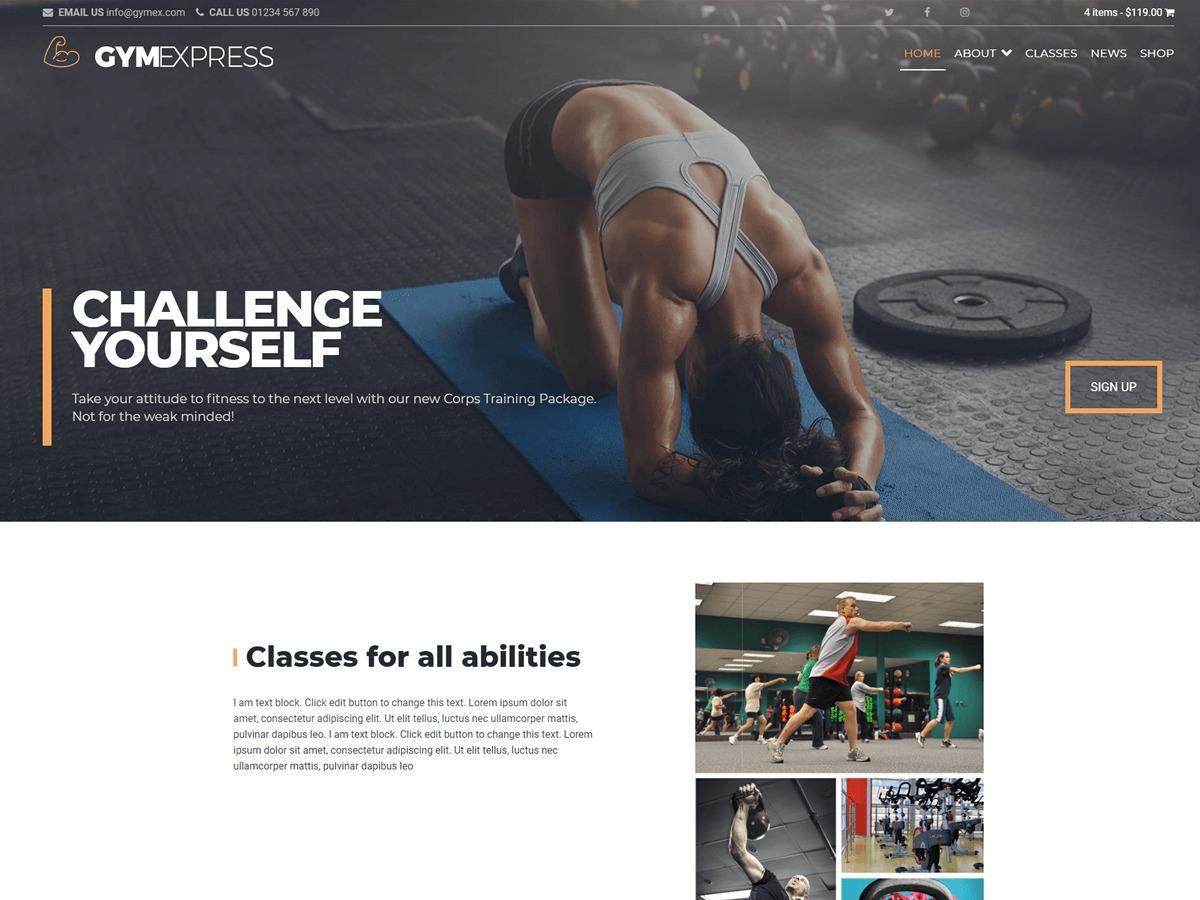 Gym Express Pro business WordPress theme