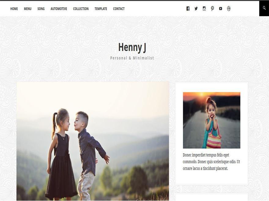 Hennyj WordPress blog template