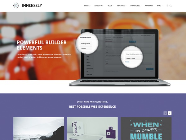 Immensely company WordPress theme