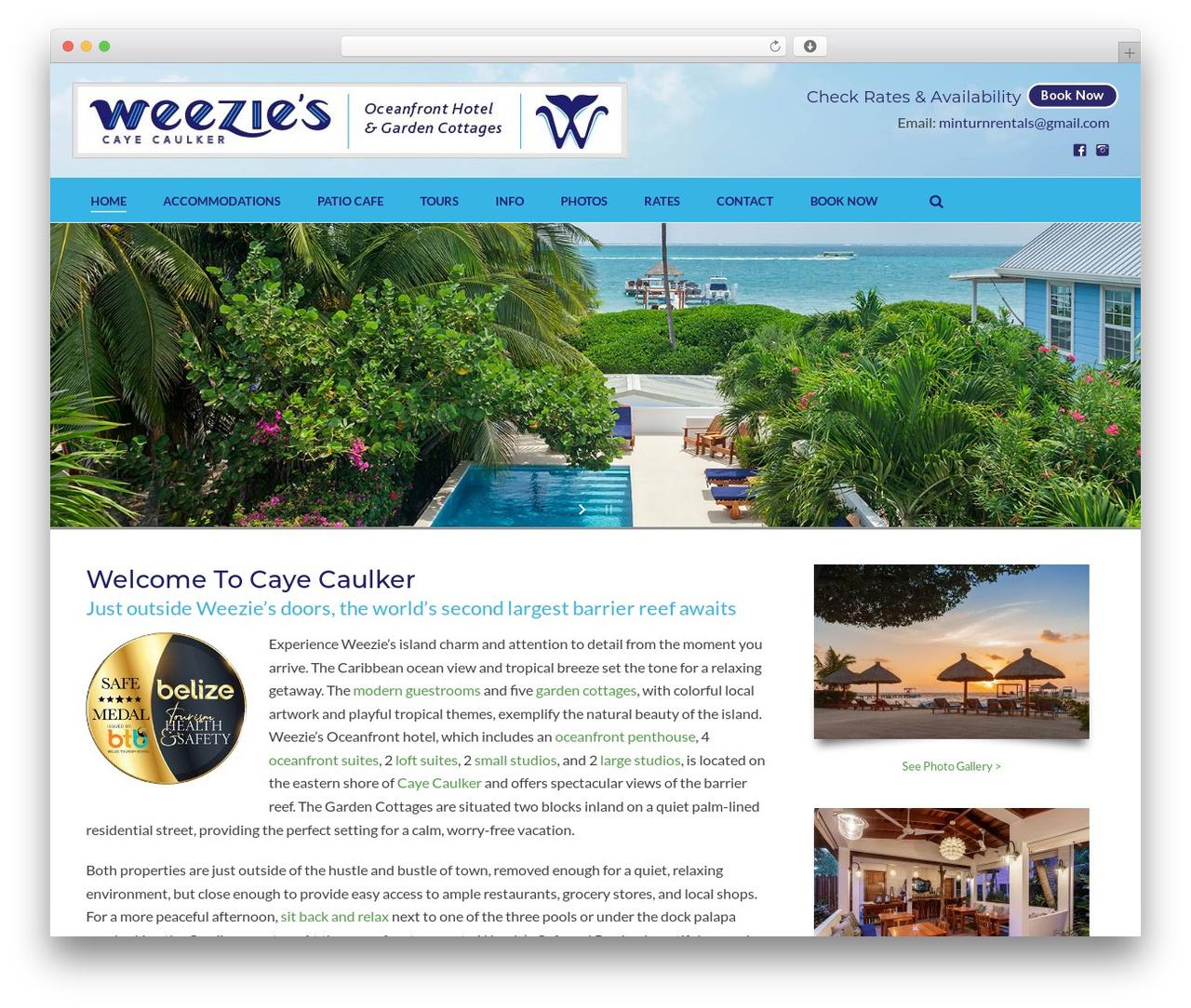 Jupiter WordPress hotel theme - weeziescayecaulker.com