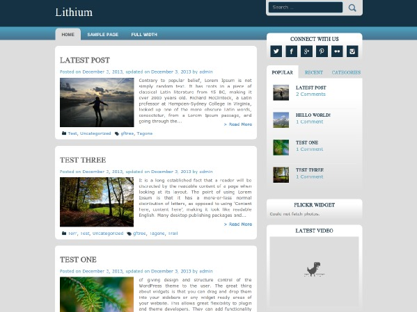 lithium WordPress theme design