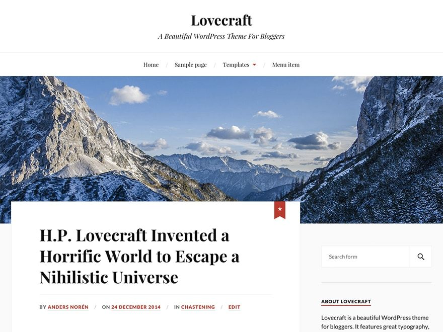 Lovecraft free WP theme