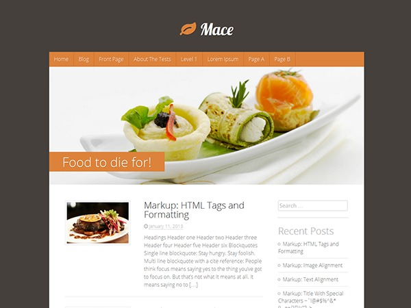 Mace food WordPress theme