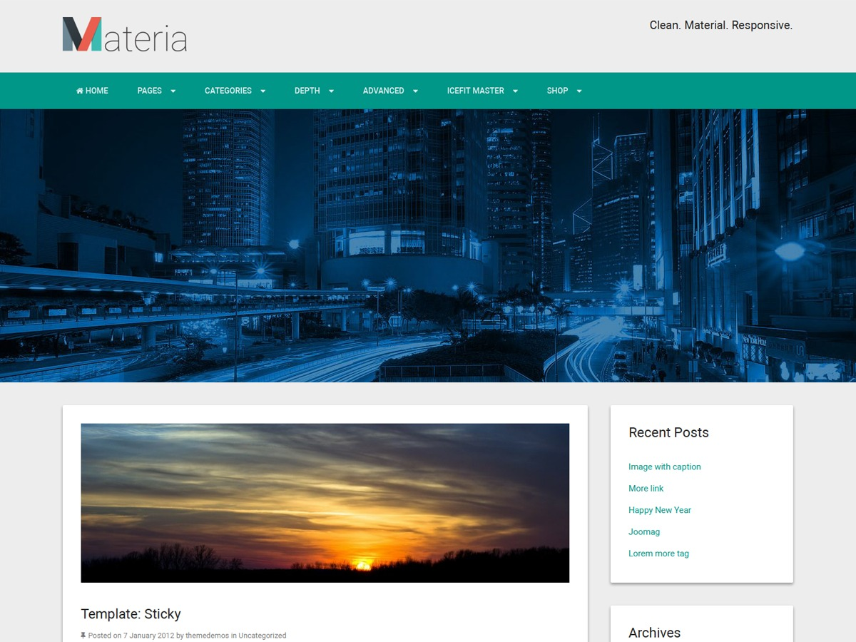 Materia Lite WordPress theme free download