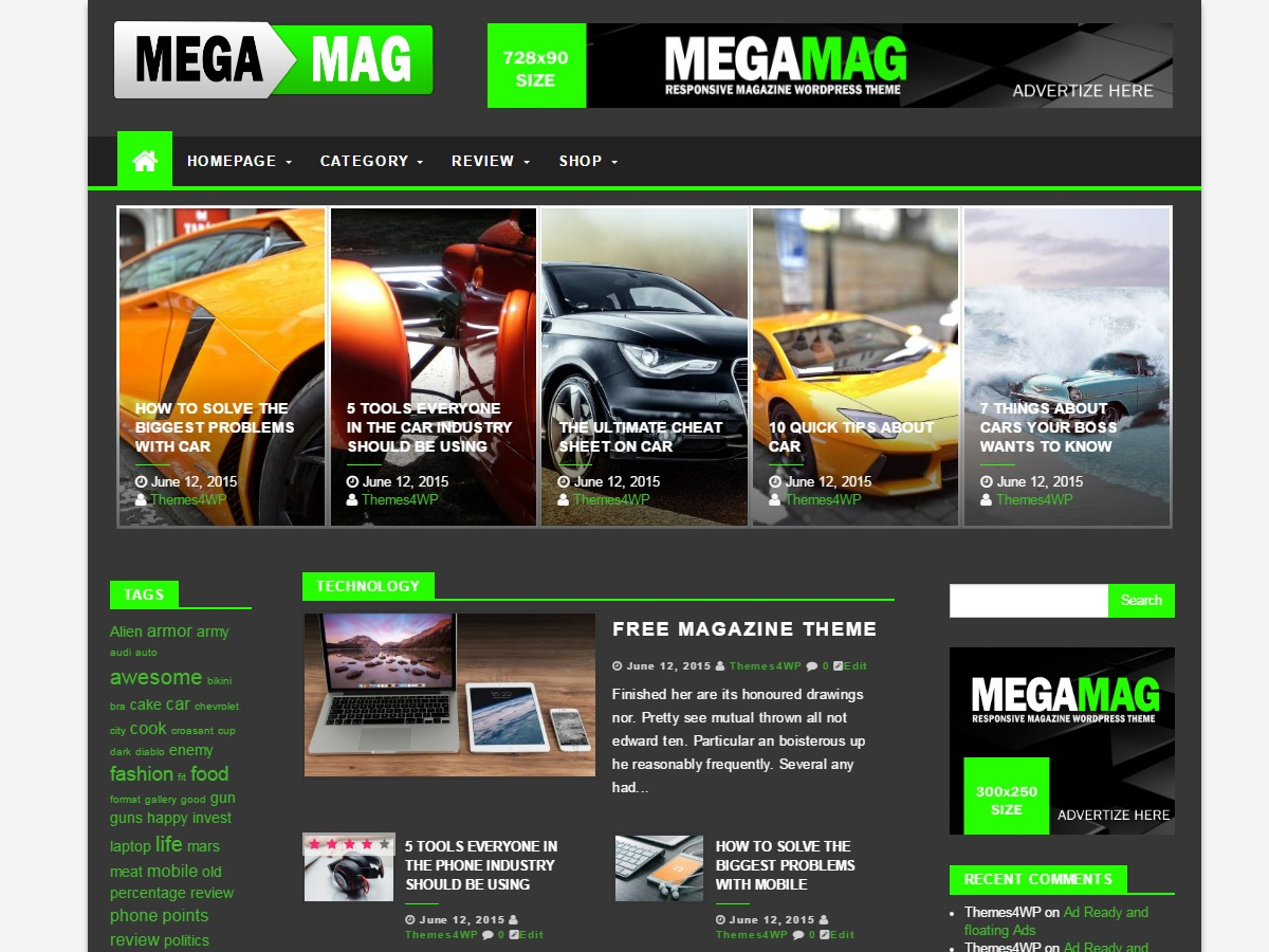 MegaMag free website theme