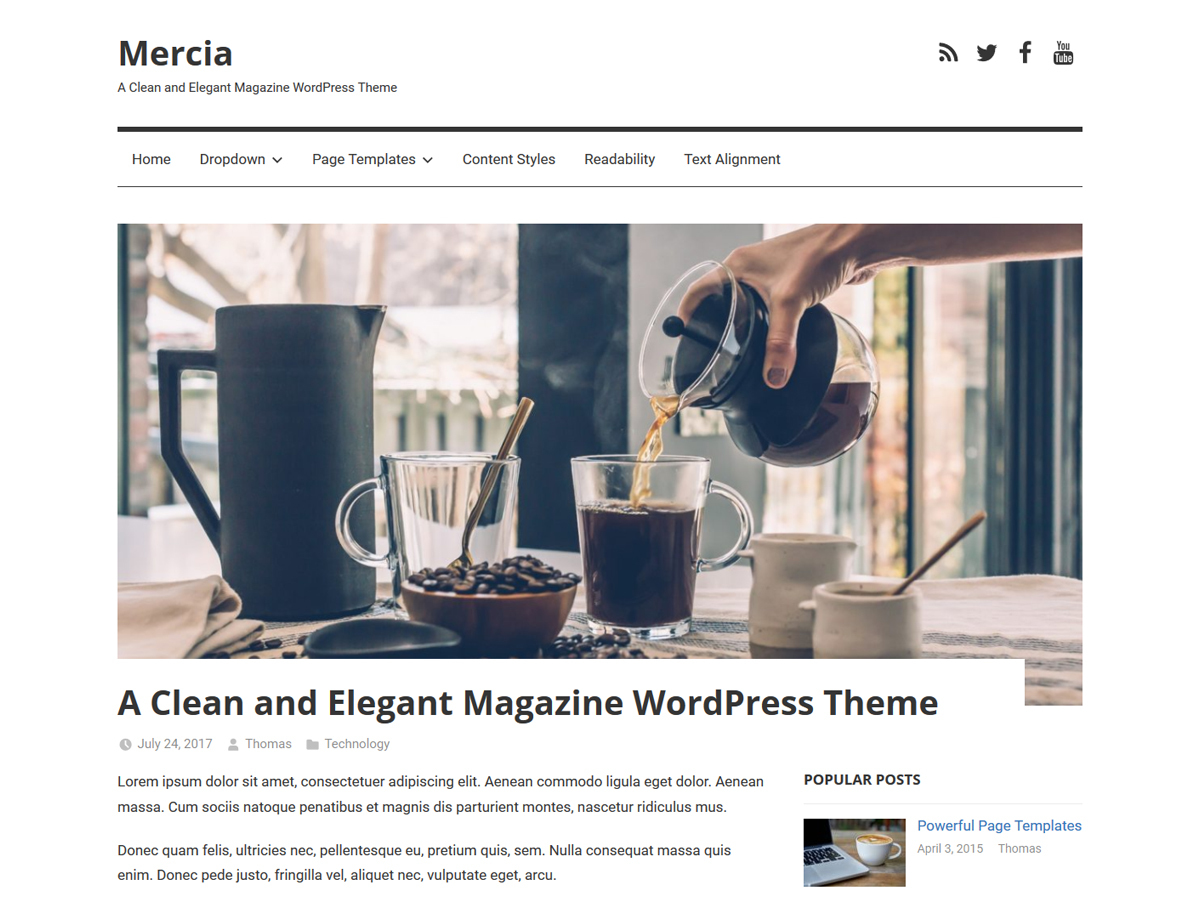 Mercia template WordPress free