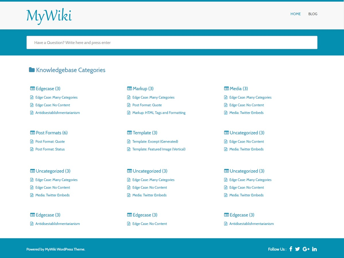 MyWiki free WordPress theme